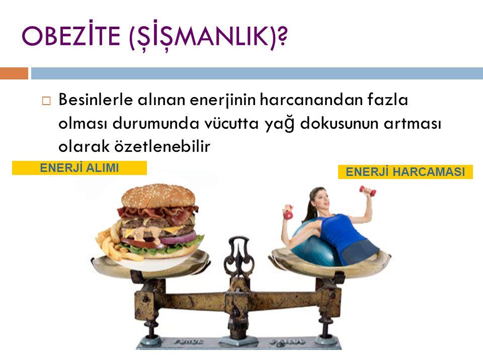 OBEZİTE (ŞİŞMANLIK) Besinlerle alınan enerjinin harcanandan fazla olması durumunda vücutta yağ dokusunun artması olarak özetlenebilir.