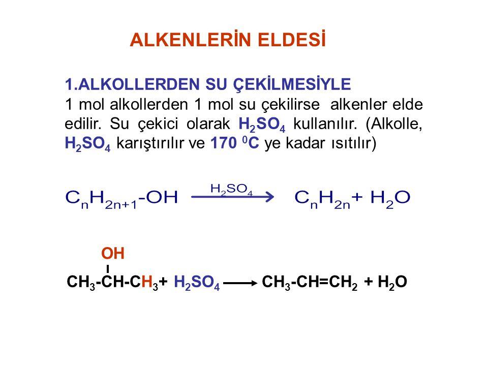 ALKENLERİN ELDESİ 1.ALKOLLERDEN SU ÇEKİLMESİYLE