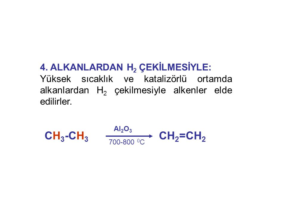 CH3-CH3 CH2=CH2 4. ALKANLARDAN H2 ÇEKİLMESİYLE: