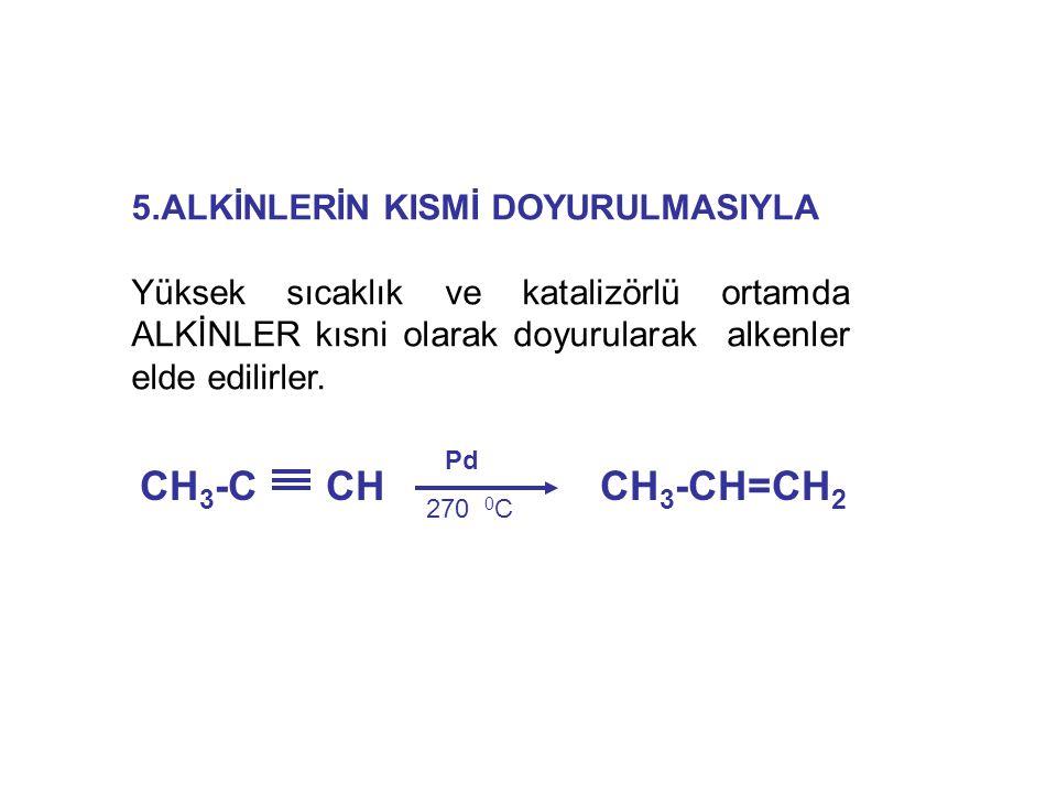CH3-C CH CH3-CH=CH2 5.ALKİNLERİN KISMİ DOYURULMASIYLA