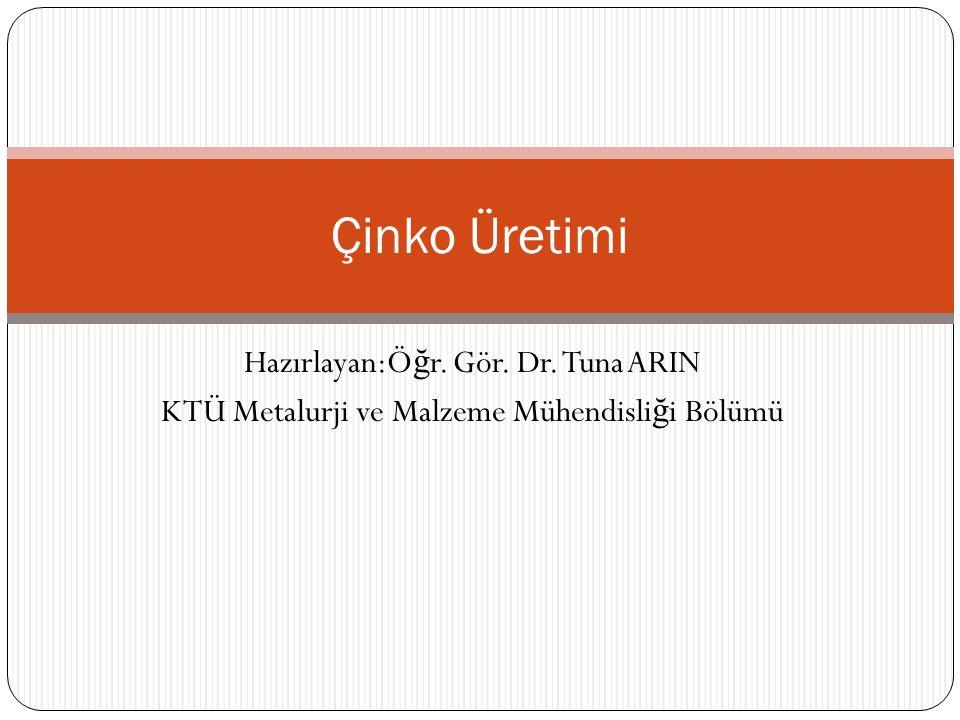 Çinko Üretimi Hazırlayan:Öğr. Gör. Dr. Tuna ARIN