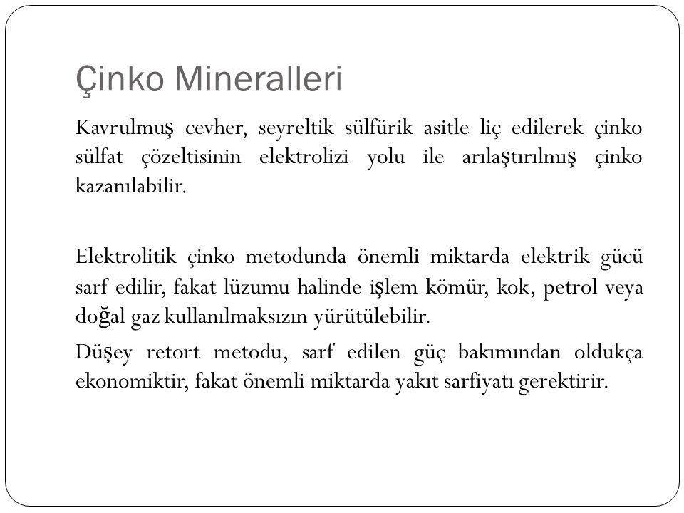 Çinko Mineralleri