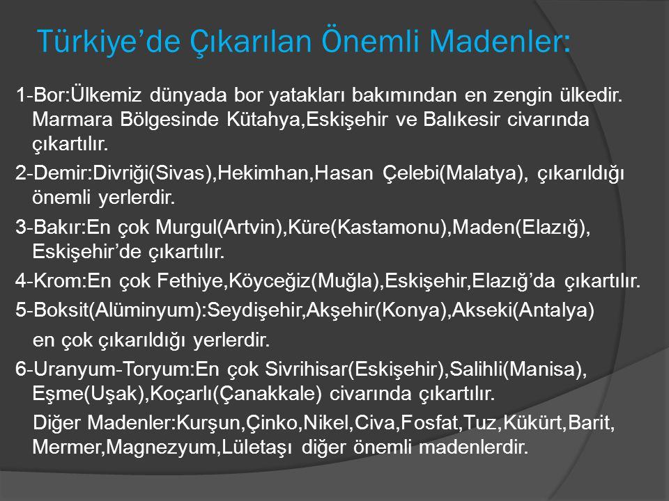 Türkiye'de Çıkarılan Önemli Madenler: