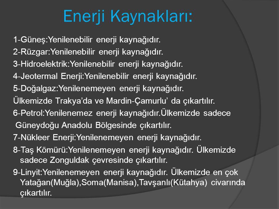 Enerji Kaynakları:
