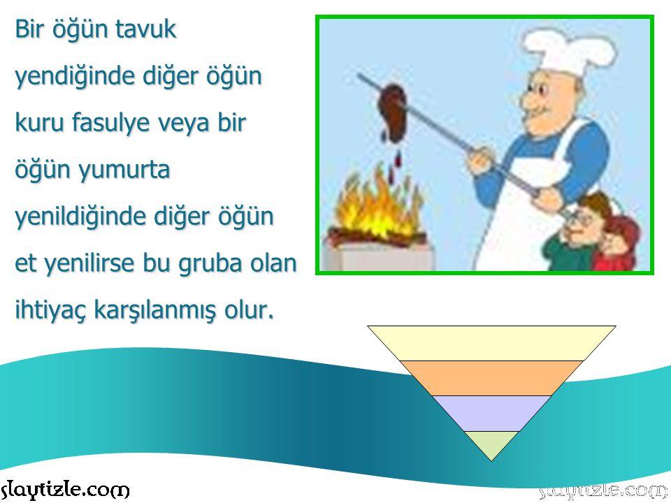 Bir öğün tavuk yendiğinde diğer öğün. kuru fasulye veya bir. öğün yumurta. yenildiğinde diğer öğün.