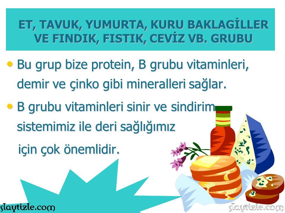 B grubu vitaminleri sinir ve sindirim sistemimiz ile deri sağlığımız