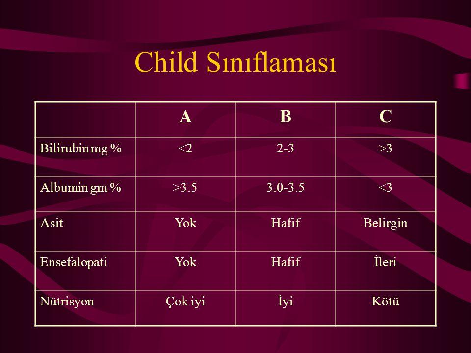 Child Sınıflaması A B C Bilirubin mg % <2 2-3 >3 Albumin gm %