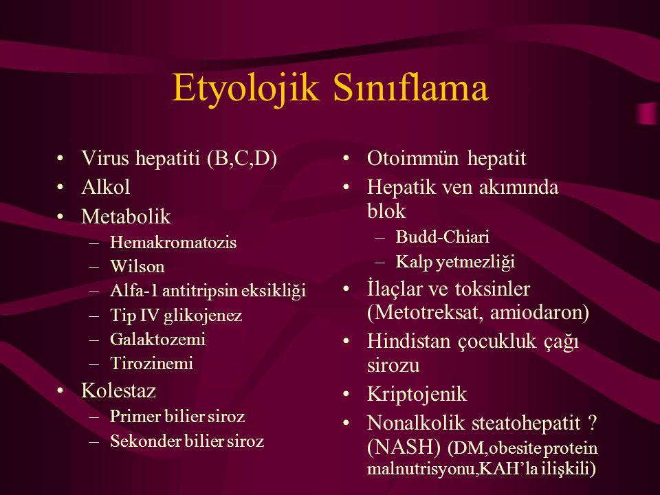 Etyolojik Sınıflama Virus hepatiti (B,C,D) Alkol Metabolik Kolestaz