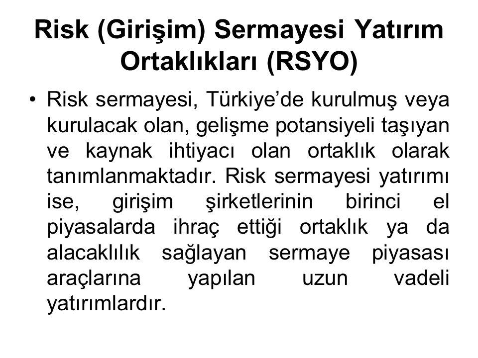 Risk (Girişim) Sermayesi Yatırım Ortaklıkları (RSYO)