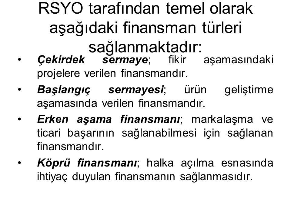 RSYO tarafından temel olarak aşağıdaki finansman türleri sağlanmaktadır: