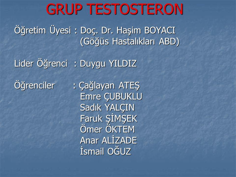 GRUP TESTOSTERON Öğretim Üyesi : Doç. Dr. Haşim BOYACI