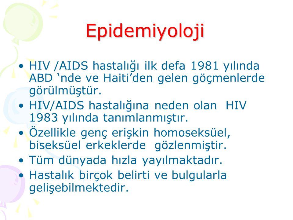 Epidemiyoloji HIV /AIDS hastalığı ilk defa 1981 yılında ABD 'nde ve Haiti'den gelen göçmenlerde görülmüştür.