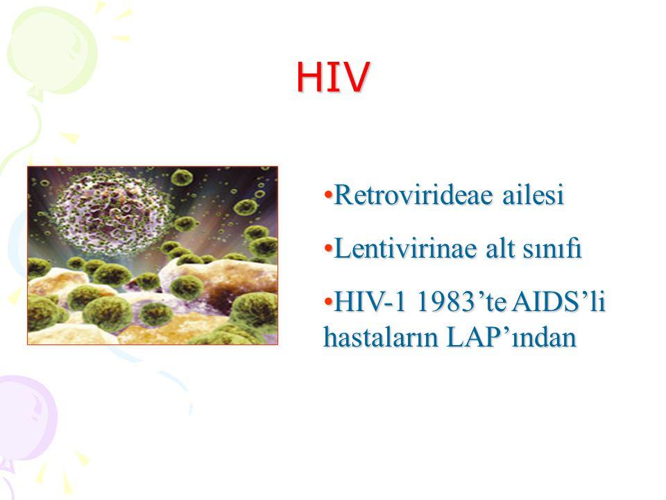 HIV Retrovirideae ailesi Lentivirinae alt sınıfı