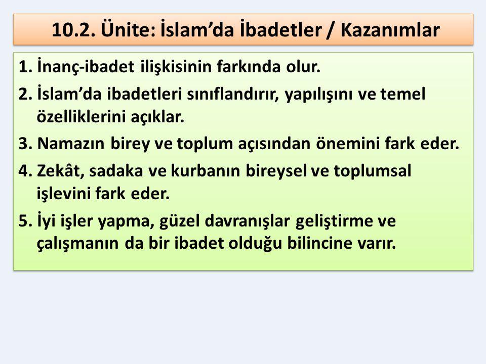 10.2. Ünite: İslam'da İbadetler / Kazanımlar