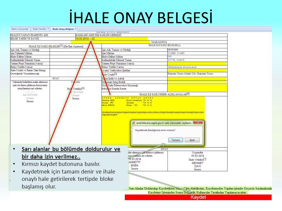 İHALE ONAY BELGESİ Sarı alanlar bu bölümde doldurulur ve bir daha izin verilmez.. Kırmızı kaydet butonuna basılır.