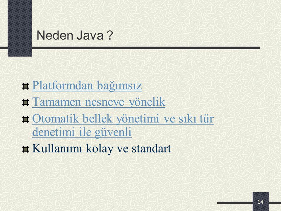 Neden Java Platformdan bağımsız. Tamamen nesneye yönelik. Otomatik bellek yönetimi ve sıkı tür denetimi ile güvenli.