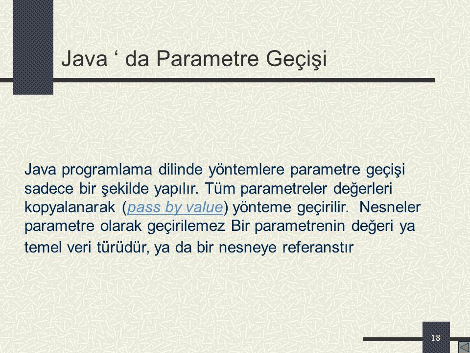 Java ' da Parametre Geçişi