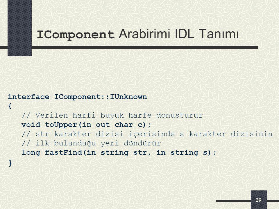 IComponent Arabirimi IDL Tanımı