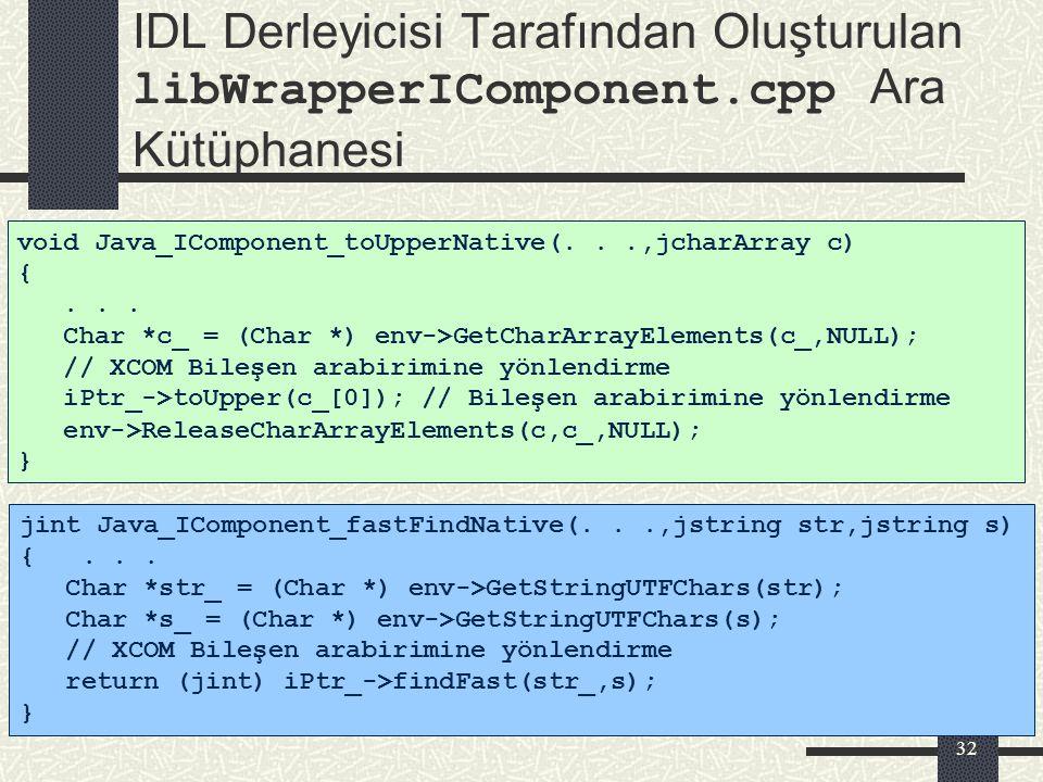 IDL Derleyicisi Tarafından Oluşturulan libWrapperIComponent