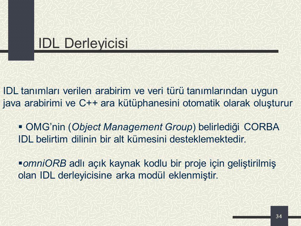 IDL Derleyicisi IDL tanımları verilen arabirim ve veri türü tanımlarından uygun java arabirimi ve C++ ara kütüphanesini otomatik olarak oluşturur.