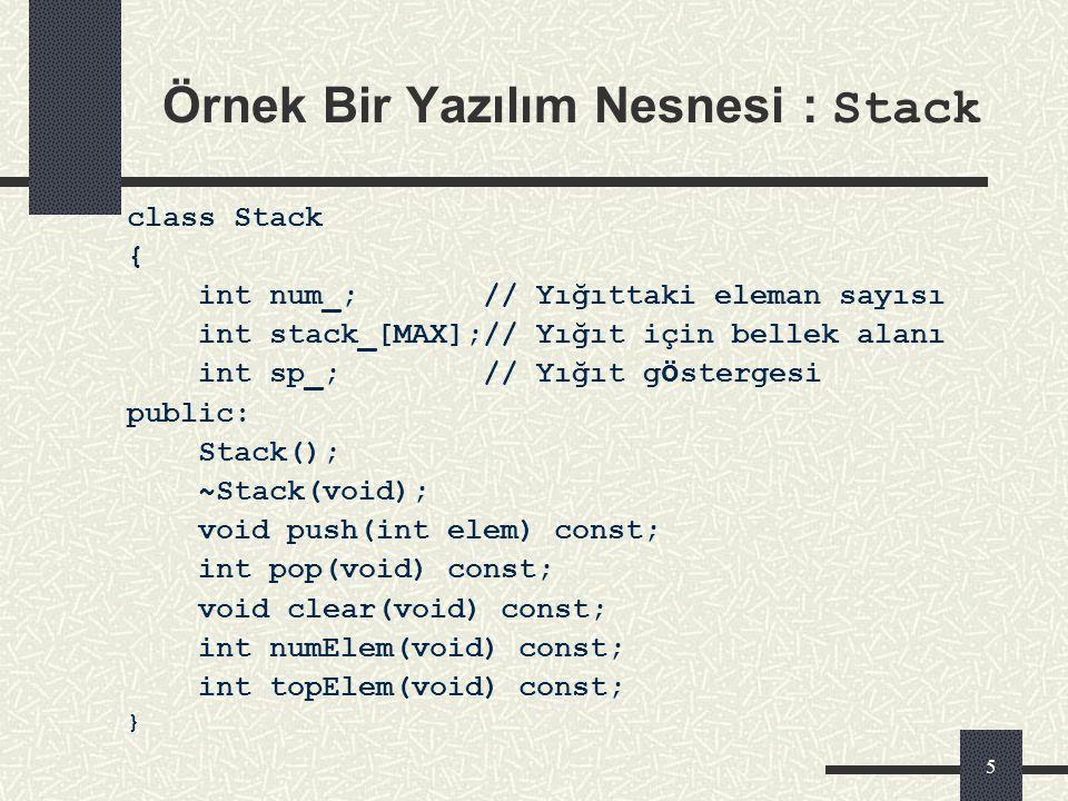 Örnek Bir Yazılım Nesnesi : Stack