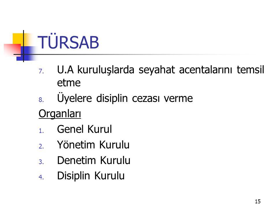TÜRSAB U.A kuruluşlarda seyahat acentalarını temsil etme