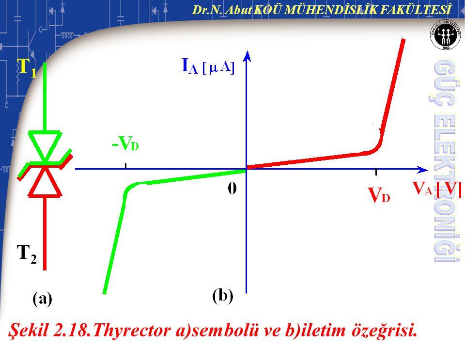 T1 T2 Şekil 2.18.Thyrector a)sembolü ve b)iletim özeğrisi.