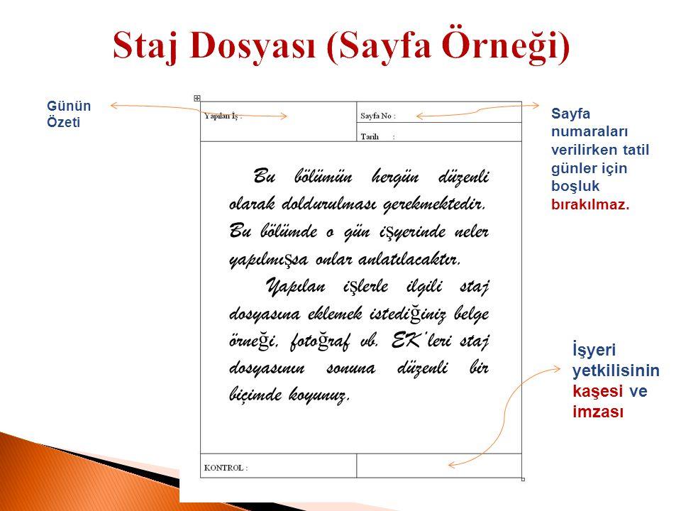 Staj Dosyası (Sayfa Örneği)