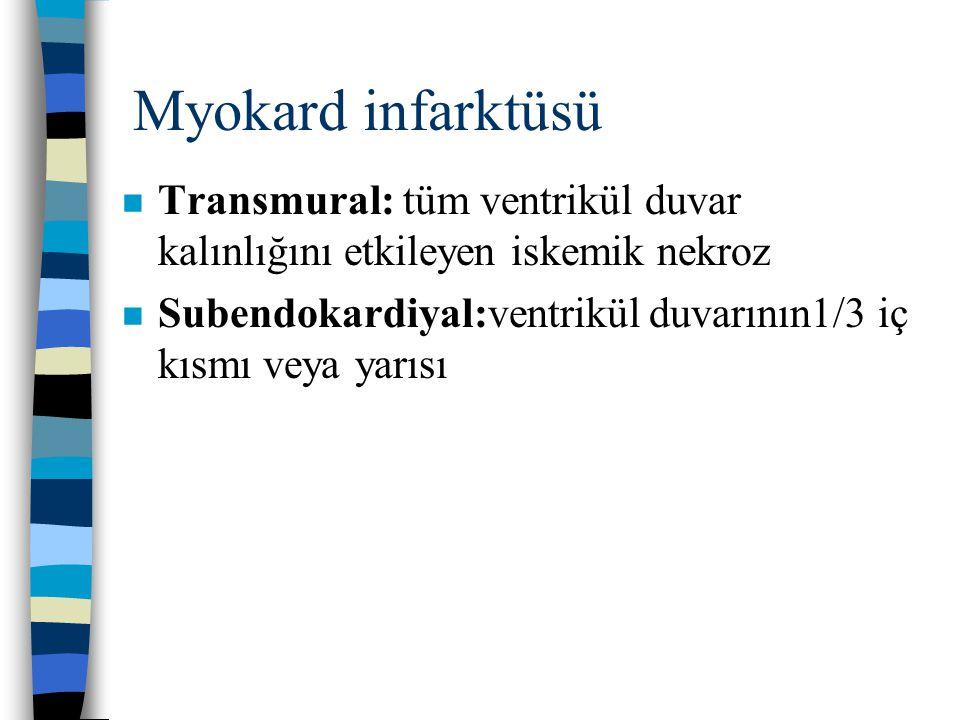 Myokard infarktüsü Transmural: tüm ventrikül duvar kalınlığını etkileyen iskemik nekroz.