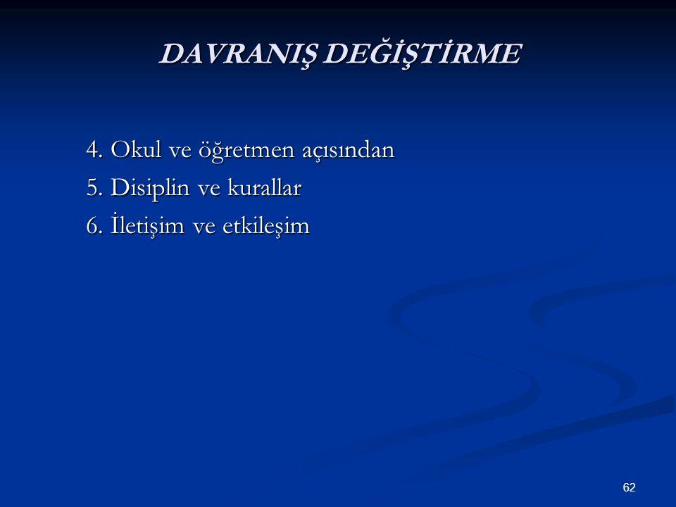 DAVRANIŞ DEĞİŞTİRME 4. Okul ve öğretmen açısından
