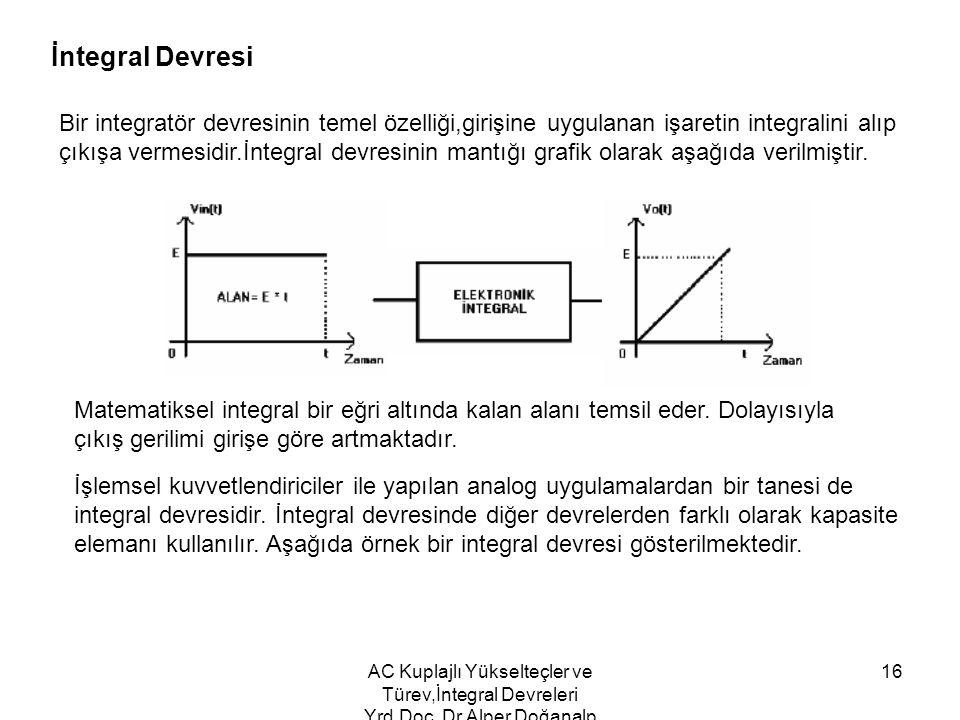 İntegral Devresi Bir integratör devresinin temel özelliği,girişine uygulanan işaretin integralini alıp.