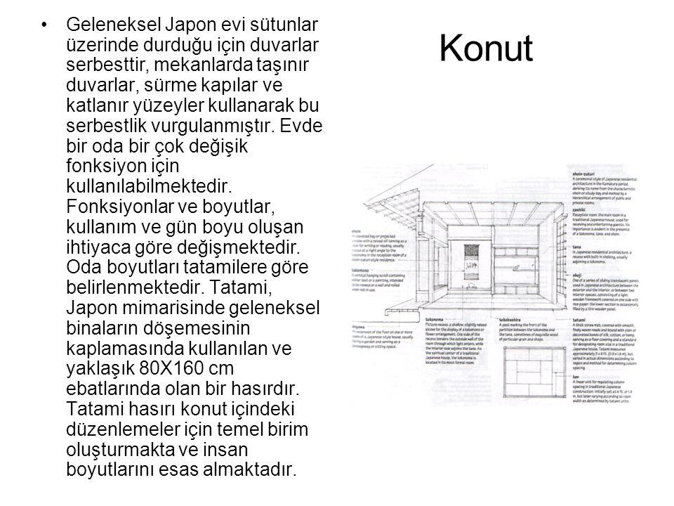 Geleneksel Japon evi sütunlar üzerinde durduğu için duvarlar serbesttir, mekanlarda taşınır duvarlar, sürme kapılar ve katlanır yüzeyler kullanarak bu serbestlik vurgulanmıştır. Evde bir oda bir çok değişik fonksiyon için kullanılabilmektedir. Fonksiyonlar ve boyutlar, kullanım ve gün boyu oluşan ihtiyaca göre değişmektedir. Oda boyutları tatamilere göre belirlenmektedir. Tatami, Japon mimarisinde geleneksel binaların döşemesinin kaplamasında kullanılan ve yaklaşık 80X160 cm ebatlarında olan bir hasırdır. Tatami hasırı konut içindeki düzenlemeler için temel birim oluşturmakta ve insan boyutlarını esas almaktadır.