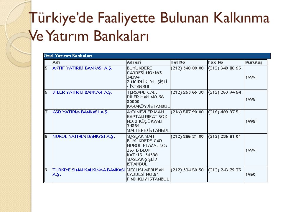 Türkiye'de Faaliyette Bulunan Kalkınma Ve Yatırım Bankaları