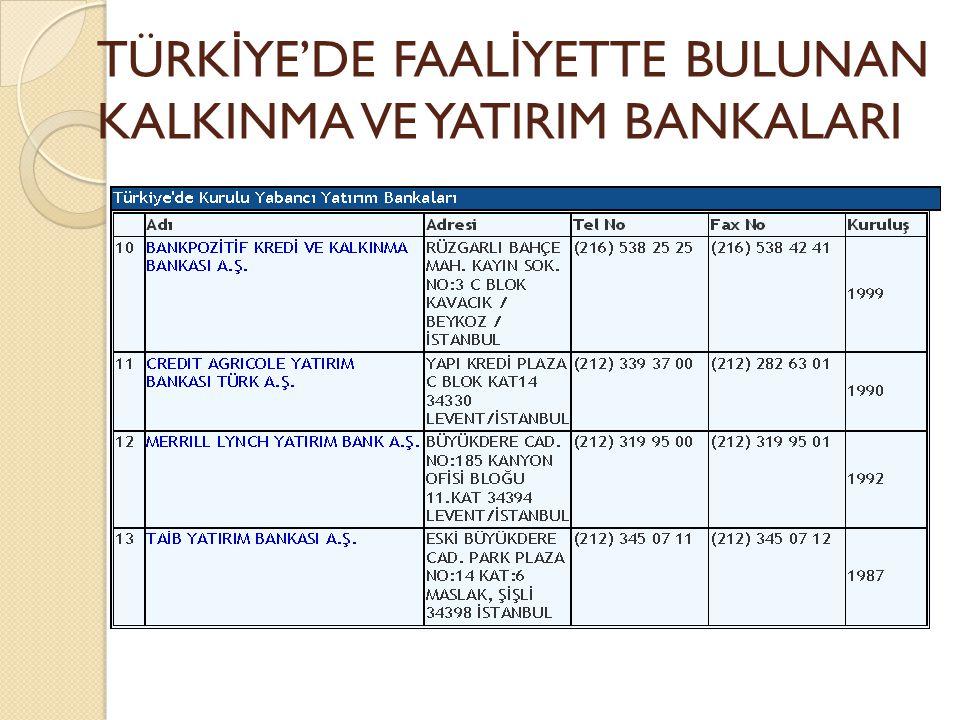 TÜRKİYE'DE FAALİYETTE BULUNAN KALKINMA VE YATIRIM BANKALARI