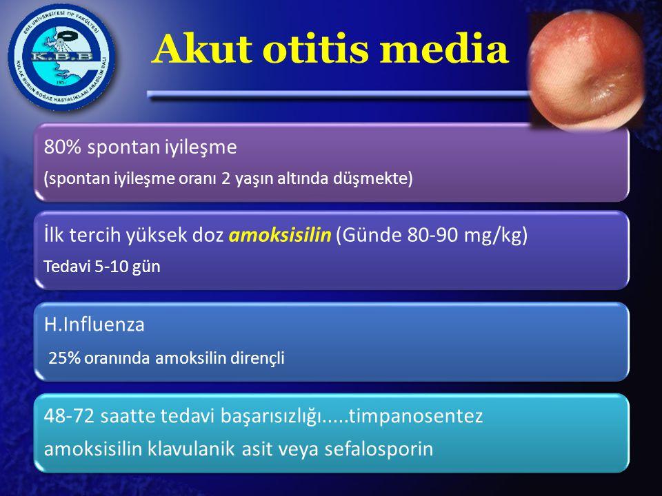 Akut otitis media 48-72 saatte tedavi başarısızlığı.....timpanosentez