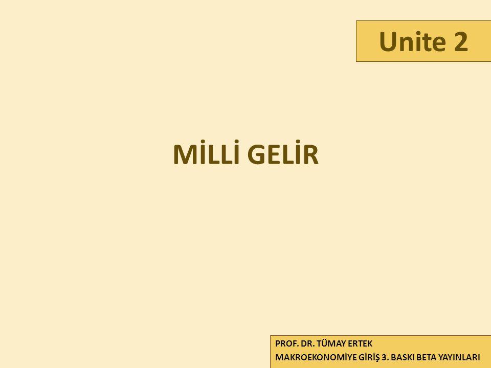 Unite 2 MİLLİ GELİR PROF. DR. TÜMAY ERTEK