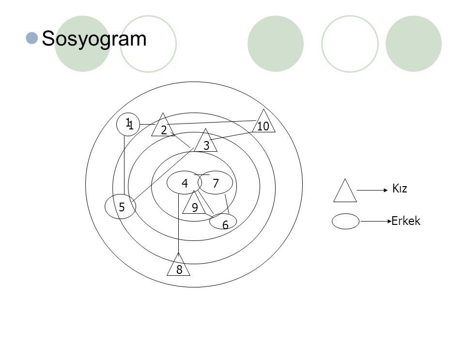 Sosyogram 1 1 2 10 3 4 7 Kız 9 5 6 Erkek 8