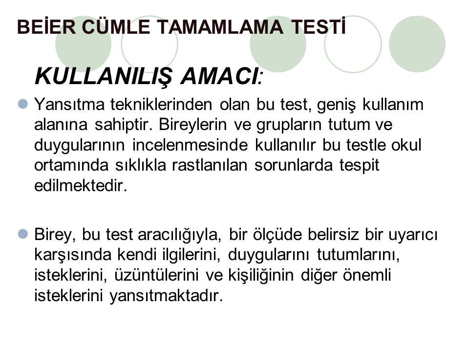 BEİER CÜMLE TAMAMLAMA TESTİ