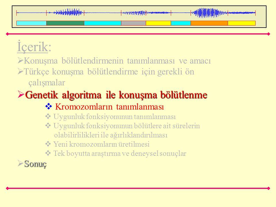 İçerik: Genetik algoritma ile konuşma bölütlenme