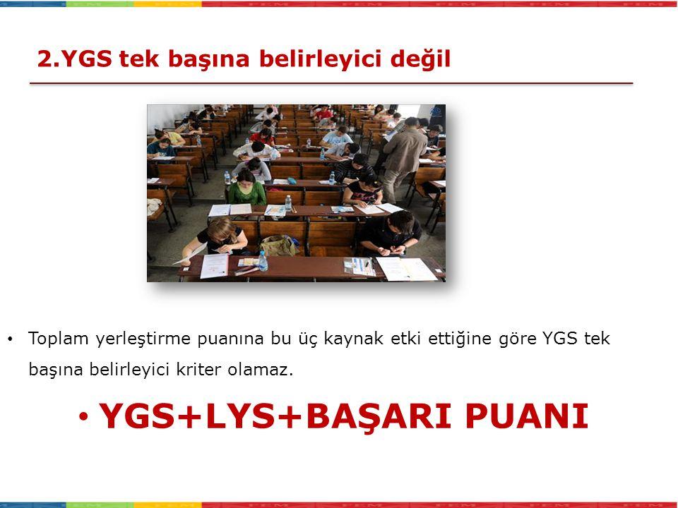 YGS+LYS+BAŞARI PUANI 2.YGS tek başına belirleyici değil