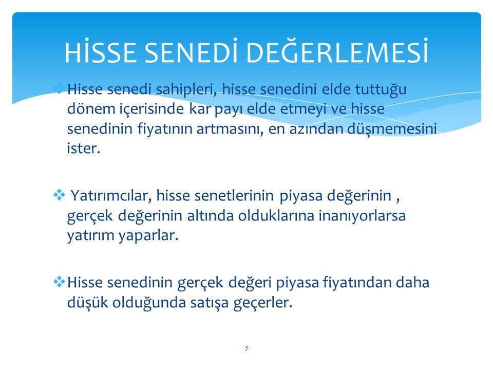 HİSSE SENEDİ DEĞERLEMESİ