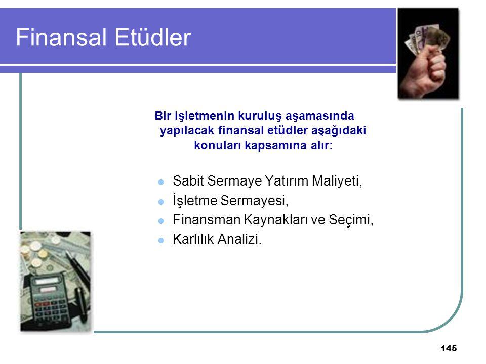 Finansal Etüdler Sabit Sermaye Yatırım Maliyeti, İşletme Sermayesi,