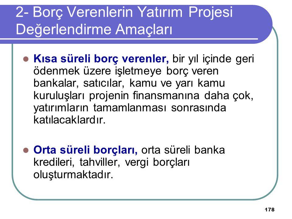 2- Borç Verenlerin Yatırım Projesi Değerlendirme Amaçları