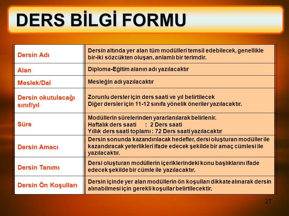 DERS BİLGİ FORMU Dersin Adı Alan Meslek/Dal