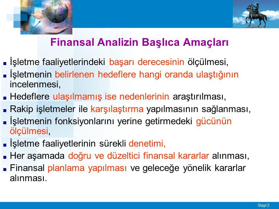 FİNANSAL ANALİZ AMAÇ KAPSAM