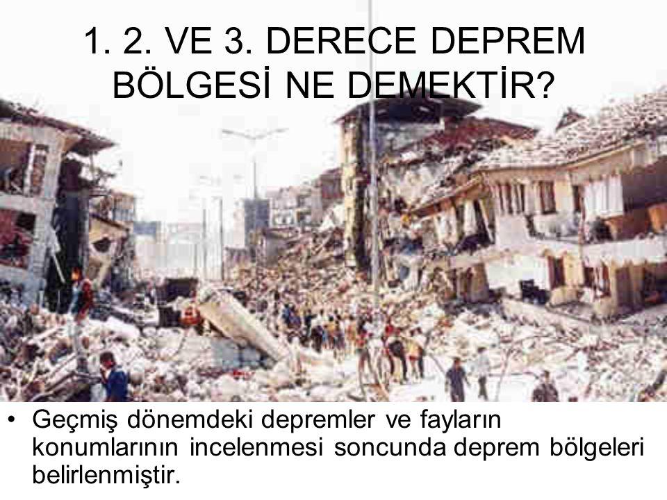 1. 2. VE 3. DERECE DEPREM BÖLGESİ NE DEMEKTİR
