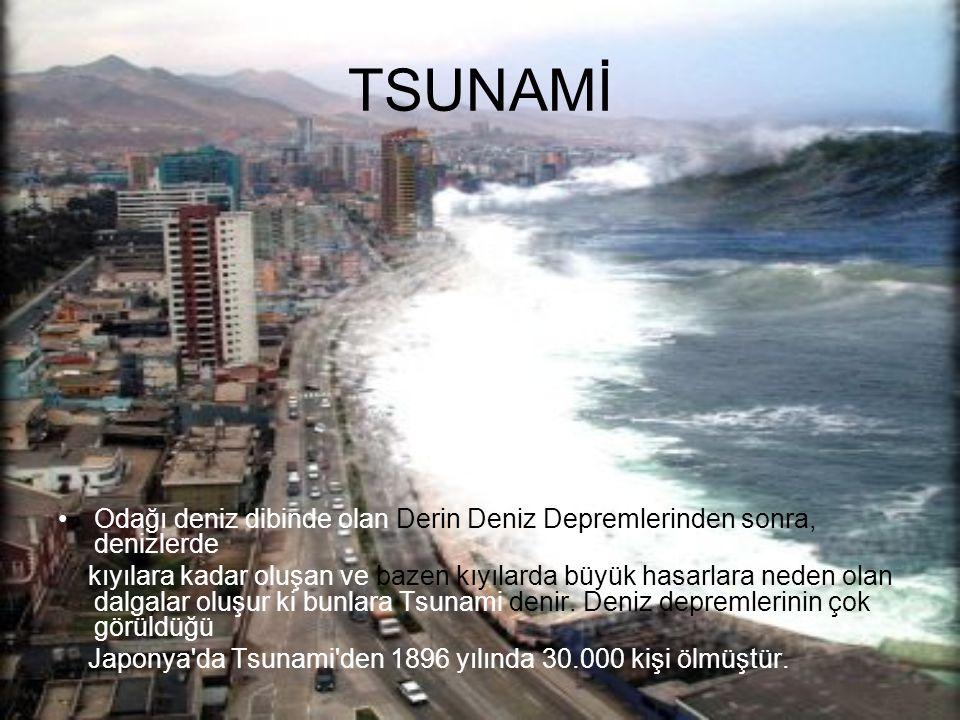 TSUNAMİ Odağı deniz dibinde olan Derin Deniz Depremlerinden sonra, denizlerde.