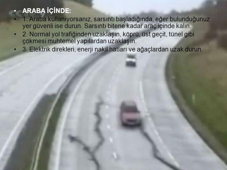 ARABA İÇİNDE: 1. Araba kullanıyorsanız, sarsıntı başladığında, eğer bulunduğunuz yer güvenli ise durun. Sarsıntı bitene kadar araç içinde kalın.