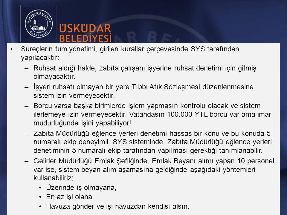 Süreçlerin tüm yönetimi, girilen kurallar çerçevesinde SYS tarafından yapılacaktır: