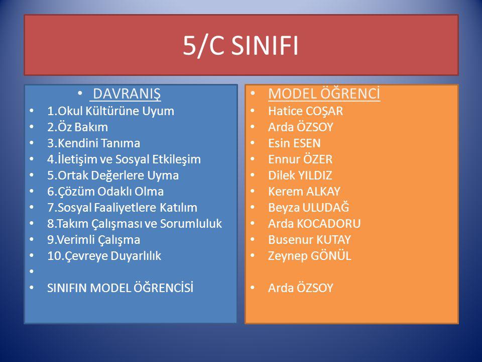 5/C SINIFI DAVRANIŞ MODEL ÖĞRENCİ 1.Okul Kültürüne Uyum 2.Öz Bakım